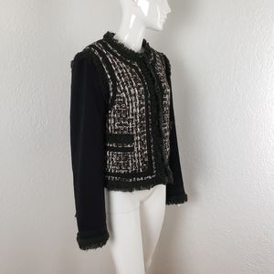 Tory Burch Quincey Wool Blend Jacket Black White